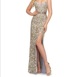 Mac duggal thigh slit bustier gown